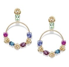 Piaget Rose Passion earrings in rose gold set with diamond, pink spinel, green tourmaline, indigo tourmaline, purple sapphire, pink sapphire...