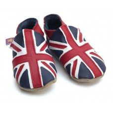 Union Jack Navy / Red Soft Leather Baby Shoes Made and supplied by Star Child Shoes in #Leicestershire - £18.00