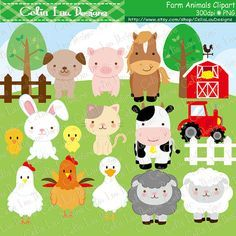 Farm animals Clipart cute farm animals clip art by CeliaLauDesigns