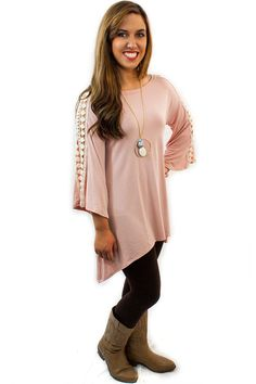 """Lace Sleeve Jersey - $36.95 - This Lace Sleeve Jersey Top will have your friends going """"WOW"""". In either Pink or Coral colors, this loose fitting jersey has real style with lace running down the center of each sleeve.  
