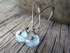 Aquamarine silver rivet earrings by MaryAnneKarren on Etsy