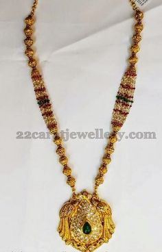 Jewellery Designs: Gold Swirls Beads Necklace Set