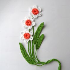 Crochet Applique Daffodil Flowers and Leaves Set by CraftsbySigita