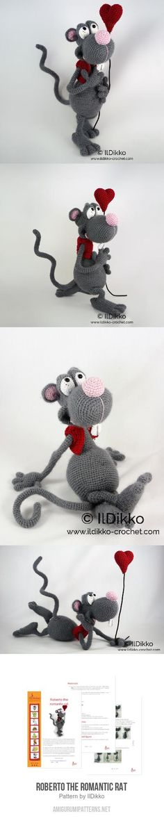 Roberto the Romantic Rat amigurumi pattern