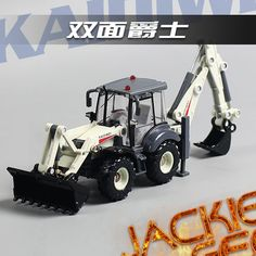 Creative 1pc 1:50 23cm Cadeve white engineering truck two mechanical arm bulldozer simulation model alloy car children gift toy