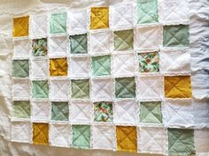 Mint Baby Quilt Rag Quilt Floral Quilt Baby Blanket Crib Quilted Baby Blanket, Baby Rag Quilts, Crib Blanket, Stroller Blanket, Puffy Quilt, Soft Fabrics, Baby Shower Gifts, Sewing Crafts, Floral Prints