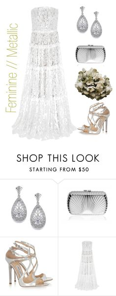 """""""Feminine Meets Metallic // B R I D A L"""" by vintagestyler ❤ liked on Polyvore featuring Jimmy Choo, Lanvin, bride and wedding"""