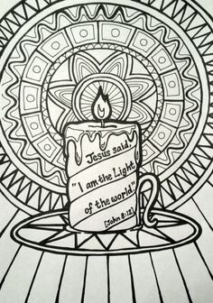 Jesus said 'I am the Light of the World' colouring page - patterned candle picture.