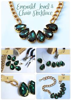 7 DIY fashion projects - Emerald jewel necklace: