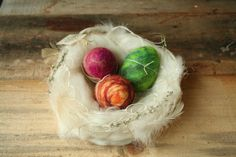 Wool Nest with Three Felted Musical Eggs Plush Shaker Egg Instrumental Pocket Toy Set of Three