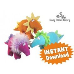 Dippy Dinosaurs (Snugglies) INSTANT DOWNLOAD Sewing Pattern PDF