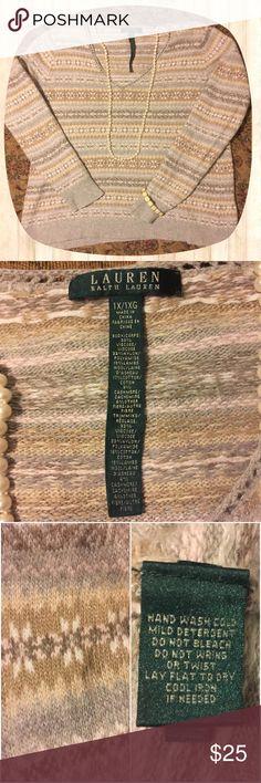 LAUREN Ralph Lauren Wool/Cashmere Sweater EUC Lauren Ralph Lauren Classic Sweater. Size 1X. 19% Lamb's Wool. 3% Cashmere. V-neck. Warm and cozy. High quality sweater. Shades of gray, tan, light pink, and just a hint of sparkle. This sweater is beautiful. I would keep it, but, unfortunately, I'm allergic to the wool. Looks great with jeans or slacks. Bundle and save! I accept reasonable offers. Just use the offer button. From a smoke free 🚫💨, pet friendly 🐶 🐱 🐦 home 🏡. Lauren Ralph…