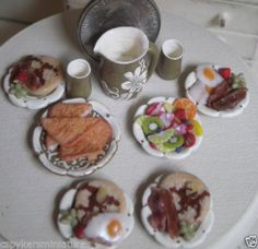 Dollhouse Miniature One Inch Scale Breakfast Set by CSpykersMiniatures