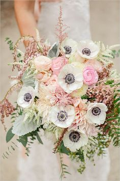 pastel cream and pink wedding bouquet