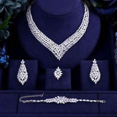 Luxury AAA cubic zirconia heavy necklace ,drop earrings ,bracelet and ring dubai full wedding bridal jewelry set for woman _ {categoryName} - AliExpress Mobile Version - Wedding Necklace Set, Diamond Necklace Set, Diamond Drop Earrings, Gold Necklace, Accesorios Casual, Jewelry Accessories, Jewelry Design, Jewelry Photography, Wedding Jewelry Sets