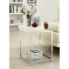 Convenience Concepts Palm Beach Square White Metal and Glass End Table with Removable Tray - 131345W