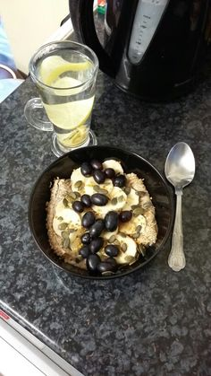 Breakfast ❤ Ginger and lemon tea (steep a few ginger pieces in hot water for about 10-20 minutes then add 1/2 of a lemon's juice), two shredded wheat biscuits with warm unsweetened almond milk, 1/2 of a large banana, 1/3 cup of sable grapes, 1/2 tbsp of pumpkin seeds and 1/4 tsp of bee pollen. ❤ #cleaneating #healthy #healthyeats #cleanfood #eatclean #food