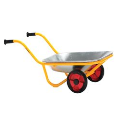 A wheelbarrow with a two-wheeled design to prevent accidental tip-overs. Features safety grip handle bars, rust-resistant powder lacquer finish, and durable tires. With a 5 year warranty on the framework and a 1 year warranty on moving parts. Diy Garden, Garden Tools, Heavy Duty Wheelbarrow, Fireplace Garden, Utility Cart, Thing 1, Green Lawn, Hacks, Tool Storage