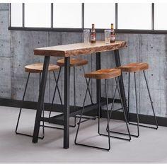 Bartisch Table Bar Acacia Wood Edge Edge Industrial 125 x 46 - stool Bar Table Sets, Patio Bar Set, Bar Tables, Bar Table Design, Küchen Design, Block Design, Home Decor Kitchen, Bars For Home, Table And Chairs