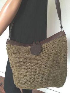 Fossil Bag Messenger Shoulder Straw Leather Sisal Designer Fashion Hip Flower | eBay