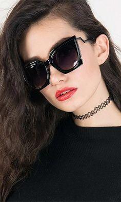 Cool Kitty Black Chunky Cat Eye Tinted Sunglasses