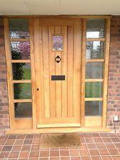 solid oak front door with sidelights! made to measure! Oak Front Door, External Doors, Door Design, Joinery, Solid Oak, Bespoke, Tall Cabinet Storage, Hallway Ideas, Exterior