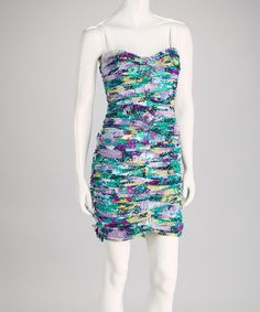 Green & Purple Abstract Ruched Strapless Dress by BCBGMAXAZRIA on #zulily
