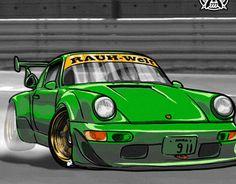 """Check out new work on my @Behance portfolio: """"RWB Porsche 964 vector drift"""" http://be.net/gallery/35901693/RWB-Porsche-964-vector-drift"""