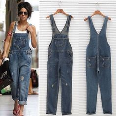 Baggy Denim Jeans Full Length Pinafore Dungaree Overall Jumpsuit C1MY UK Womens