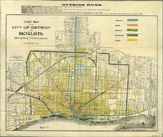Old Detroit cycling map from the 1800s