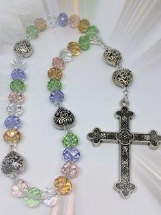 Protestant Prayer Bead Rosary,  Anglican Rosary, Celestial Rainbow Crystals and Hearts Rosary, Episcopal Rosary, Christian Prayer Beads by FaithExpressions on Etsy