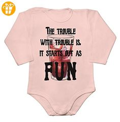 The Trouble With Trouble Is It Always Starts As Fun Baby Long Sleeve Romper Bodysuit Extra Large - Baby bodys baby einteiler baby stampler (*Partner-Link)