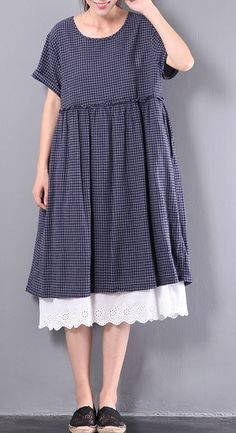 navy grid casual cotton sundress lace patchwork baggy dresses