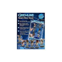 Including: 5 Bad Gremlins and Gizmo.Features include: From Wizkids highly detailed HeroClix Action cards and 1 Games boardGreat collector's itemGreat gift for the holiday Gremlins Gizmo, Action Cards, The Collector, Product Review, Games, Reading, Books, Holidays, Gift