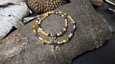 Armband und Kette aus Amethyst, Orangencalcit, Perlen und Sterlingsilber 925