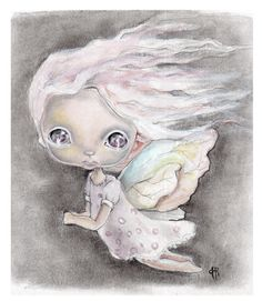 Original painting mixed media on paper...I by ppinkydollsart