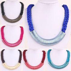 Hot Selling European Fashion Braided Bib Statement Choker Chain Necklace