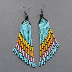 Long Multicolor  Seed Bead Earrings  dangle by Anabel27shop,