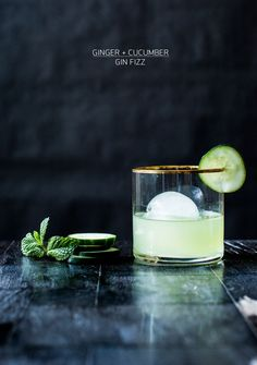Cucumber Gin Fizz -- just made this, minus the ginger. Home-infused cucumber gin & home made simple syrup. Gin Fizz, Party Drinks, Cocktail Drinks, Cocktail Recipes, Alcoholic Drinks, Ginger Cocktails, Cocktail Ideas, Spring Cocktails, Fizz Drinks
