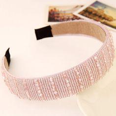Joker Pink Beads Decorated Simple Design Imitation Crystal Hair band hair hoop:Asujewelry.com