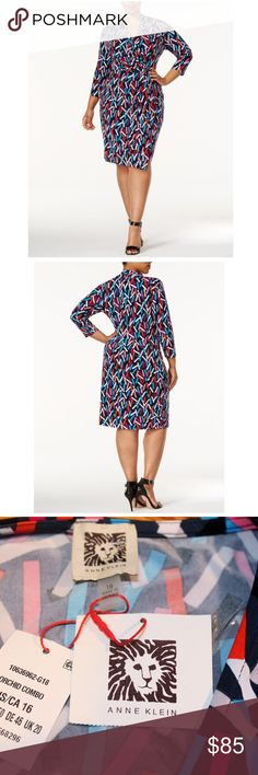 NWT Anne Klein Printed Faux Wrap Dress New With Tags  MSRP: $129.00  Size: 16  Make a stylish statement in this plus size dress from Anne Klein, a flattering faux wrap vividly colored for a chic look.  Product Details:  Pullover styling Knee length V-neckline; faux-wrap silhouette 3/4-sleeves Unlined, Polyester/elastane Machine washable Imported Anne Klein Dresses