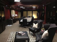 Love the laser cut cow skin rug we used in this CEO's office.
