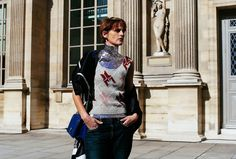 Stella Tennant 4eva at Paris Fashion Week Fall 2015 sequined underarmor