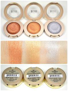Swatches of Milani's Bella Eye Gel Powder Eyeshadow