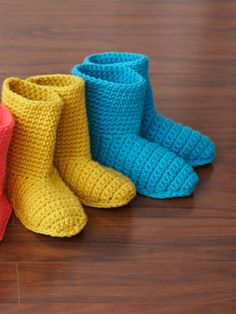 Slipper Boots | Yarn | Free Knitting Patterns | Crochet Patterns | Yarnspirations