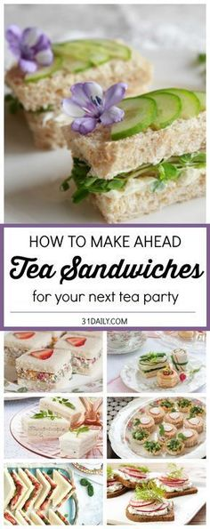 Favorite If you're hosting an afternoon tea, chances are you're serving tea sandwiches. And would like to find some Easy Make Ahead Tea Sandwiches. We've gathered some delicious ideas and beautiful… Snacks Für Party, Appetizers For Party, Appetizer Recipes, Tea Party Foods, Food For Tea Party, Tea Snacks, Parties Food, Garden Party Foods, Garden Tea Parties