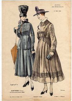 1916. These dresses are typical of the period because of their wide waistband and large lapels.