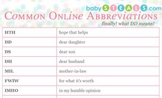 common online abbreviations thanks to baby.steals.com