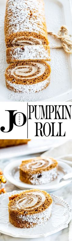 This classic Pumpkin Roll truly is irresistibly delicious, loaded with pumpkin and spices and filled with the best spiced cream cheese filling. It's so good, it will be gone in seconds! Pumpkin Roll Cake, Pumpkin Bread, Pumpkin Cheesecake, Pumpkin Rolls, Just Desserts, Delicious Desserts, Dessert Recipes, Yummy Food, Tart