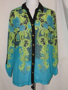 Sz M CATO Sheer Button Down Blouse Aqua Green Black 3/4 Tab Sleeves Collar #CATO #ButtonDownShirt #Casual
